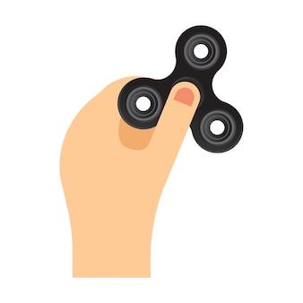 Ilustración de vector plano de hilandero de mano. trucos de spinner de mano.