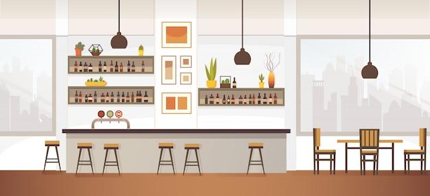 Ilustración de vector plano interior de bar o pub vacío