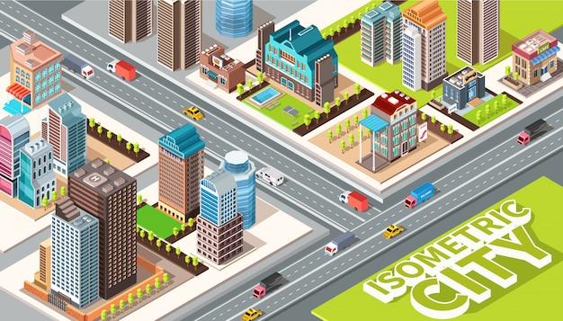 Ilustración de vector plano isométrico con carreteras, coches, calles, edificios y otros elementos de la ciudad.