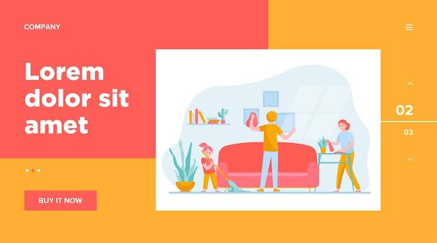 Ilustración de vector plano de limpieza de familia feliz apartamento. madre de dibujos animados, padre e hija limpieza juntos. concepto de unión, piso, hogar y hogar.