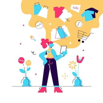 Ilustración de vector plano en línea de compras de niña. mujer joven comprando, pidiendo ropa en la tienda de internet.