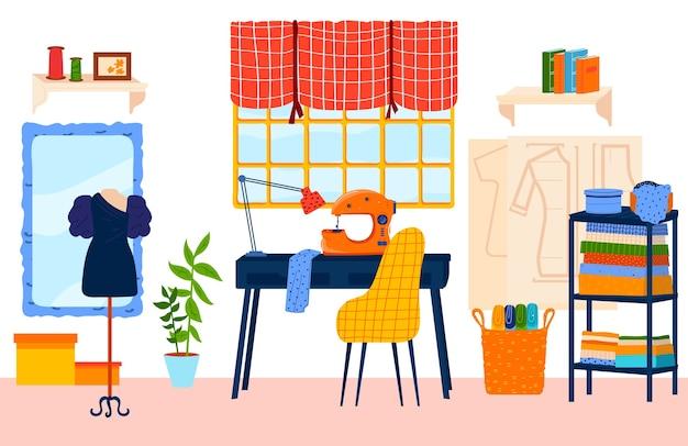 Ilustración de vector plano de lugar de trabajo a medida. dibujos animados de artesanía o costura, interior de sala de estudio de diseñador de costurera modista