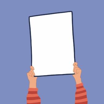 Ilustración de vector plano de mano de mujer sosteniendo cartel en blanco diseño de maqueta de fotografía dibujada a mano