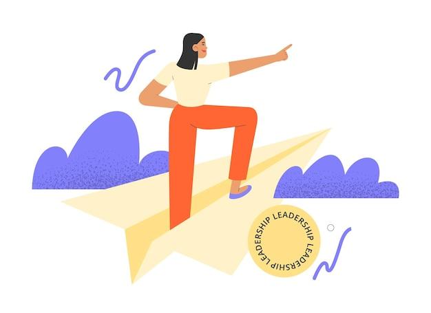 Ilustración de vector plano con mujer de negocios de pie en un avión de papel