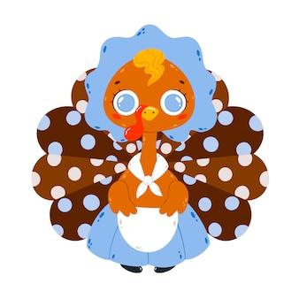 Ilustración de vector plano de un pavo de anfitriona de dibujos animados lindo con una gorra y delantal aislado en blanco