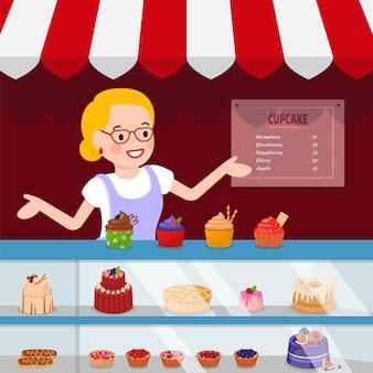 Ilustración de vector plano pequeños negocios de pastelería