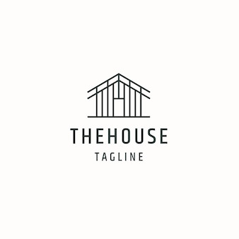 Ilustración de vector plano de plantilla de diseño de icono de logotipo de cabaña de cabaña de casa o casa