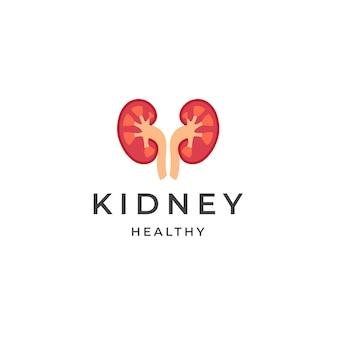 Ilustración de vector plano de plantilla de diseño de icono de logotipo médico de atención médica de riñón
