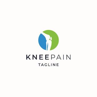 Ilustración de vector plano de plantilla de diseño de icono de logotipo ortopédico de dolor en el hueso de la rodilla