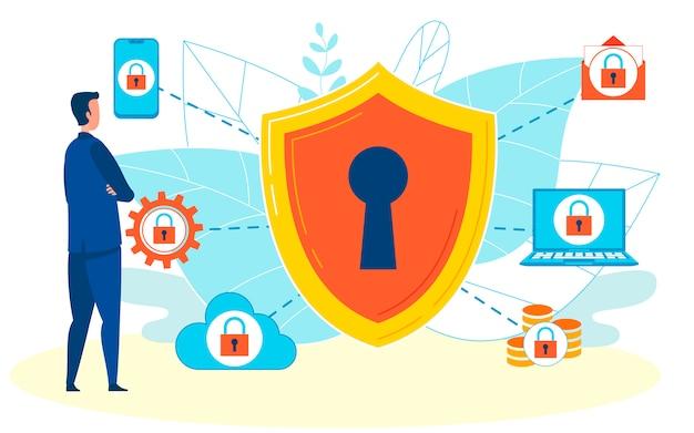 Ilustración de vector plano de protección de información
