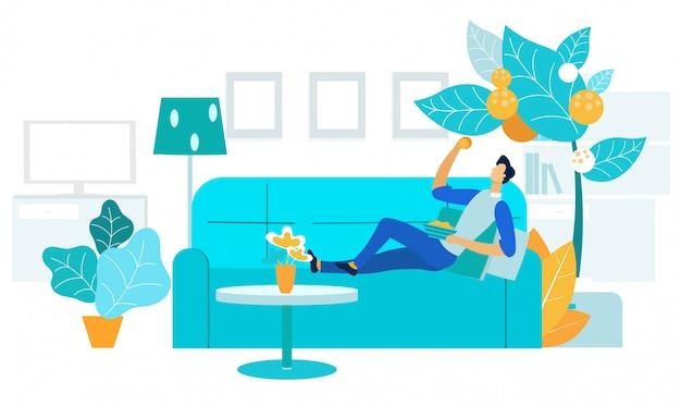Ilustración de vector plano de recreación pasiva en el hogar