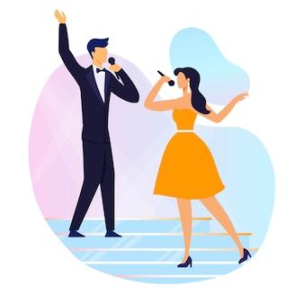 Ilustración de vector plano rendimiento dúo cantando