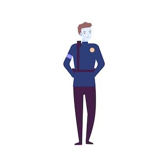 Ilustración de vector plano de robot ai. ayudante asistente robotizado. inteligencia artificial y tecnologías futuristas. androide de alta tecnología, máquina robótica. personaje humanoide de ciencia ficción aislado en blanco.