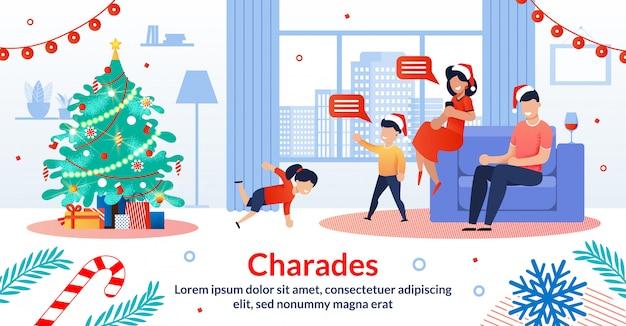 Ilustración de vector plano de tradiciones familiares de navidad