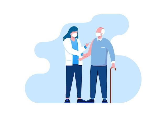 Ilustración de vector plano de tratamiento médico de vacuna para banner
