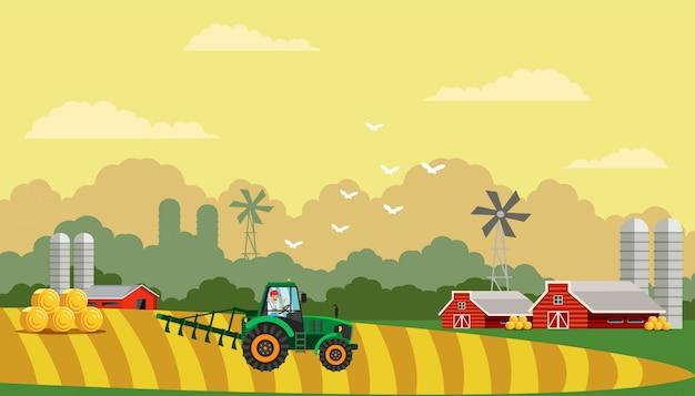 Ilustración de vector plano de vida agrícola