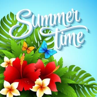Ilustración de vector con plantas y flores tropicales