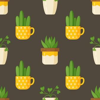 Ilustración de vector de plantas de patrón. cactus y plantas de interior aisladas sobre un fondo marrón. hermosas plantas verdes.