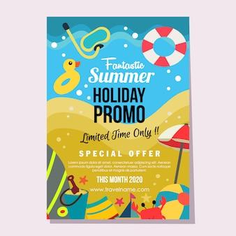 Ilustración de vector de plantilla de cartel de estilo plano de vacaciones de verano de promoción