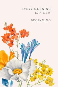 Ilustración de vector de plantilla de cita floral, remezclada de obras de arte de dominio público