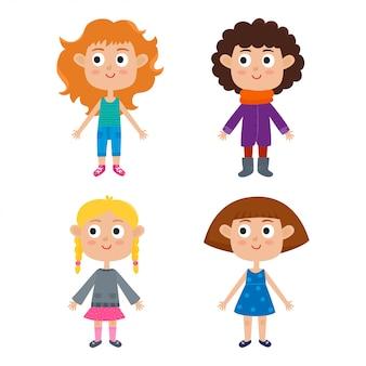 Ilustración de vector de plantilla de cuerpo de chicas de dibujos animados europeos jóvenes