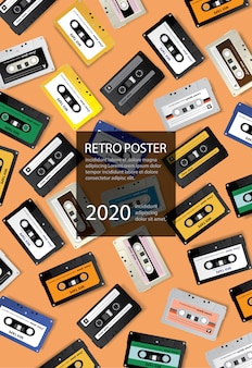 Ilustración de vector de plantilla de diseño de cartel de cinta de cassette retro vintage