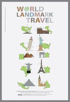 La ilustración del vector de la plantilla del diseño del cartel del día mundial del turismo