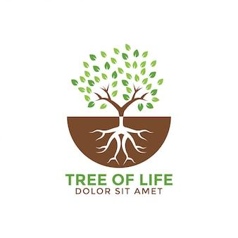Ilustración de vector de plantilla de diseño gráfico de árbol de la vida
