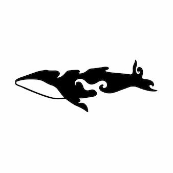 Ilustración de vector de plantilla de diseño de tatuaje de logotipo de ballena tribal
