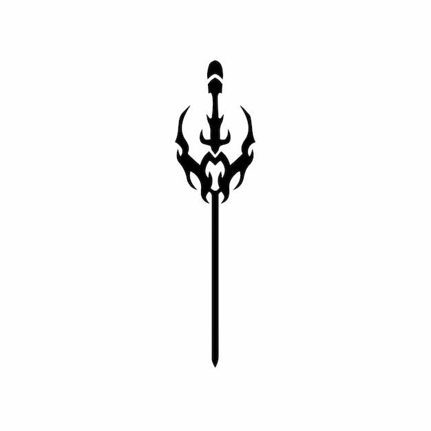 Ilustración de vector de plantilla de diseño de tatuaje de logotipo de símbolo de espada