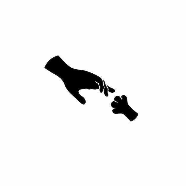 Ilustración de vector de plantilla de diseño de tatuaje de logotipo de símbolo de pata de animal y mano humana