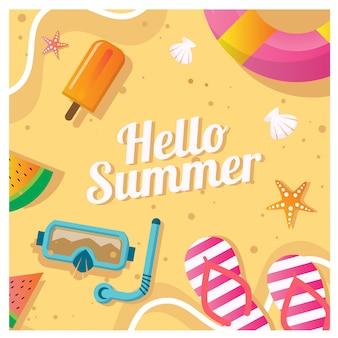 Ilustración de vector de plantilla de fondo de playa de verano para redes sociales