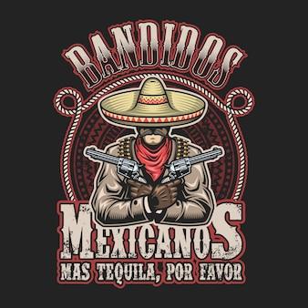 Ilustración de vector de plantilla de impresión de bandido mexicano. hombre con armas en las manos en sombrero con texto.