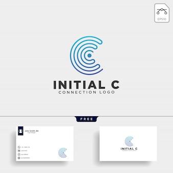 Ilustración de vector de plantilla inicial c wifi logo
