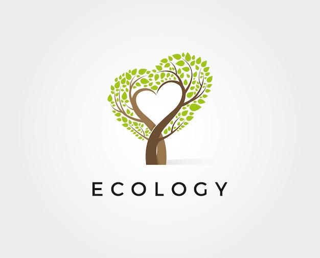 Ilustración de vector de plantilla de logotipo de amor de árbol mínimo