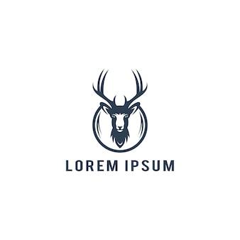 Ilustración de vector de plantilla de logotipo de cabeza de ciervo