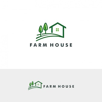 Ilustración de vector de plantilla de logotipo de casa de granja