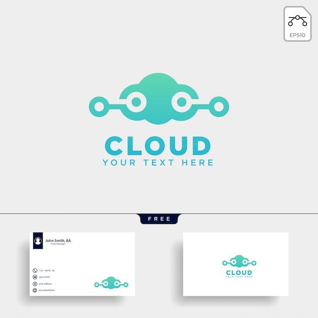 Ilustración de vector de plantilla de logotipo de comunicación de nube