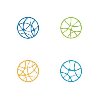 Ilustración de vector de plantilla de logotipo de mundo de alambre