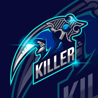 Ilustración de vector de plantilla de logotipo de reaper killer esport