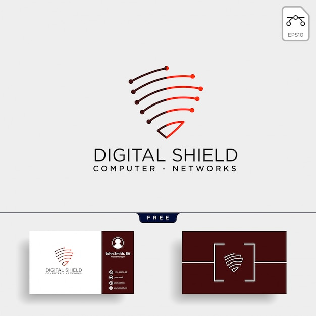 Ilustración de vector de plantilla de logotipo de red de escudo