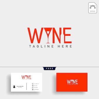 Ilustración de vector de plantilla de logotipo tipo vino y bar