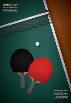 Ilustración de vector de plantilla de póster de pingpong