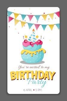 Ilustración de vector de plantilla de tarjeta de invitación de fiesta de cumpleaños eps10