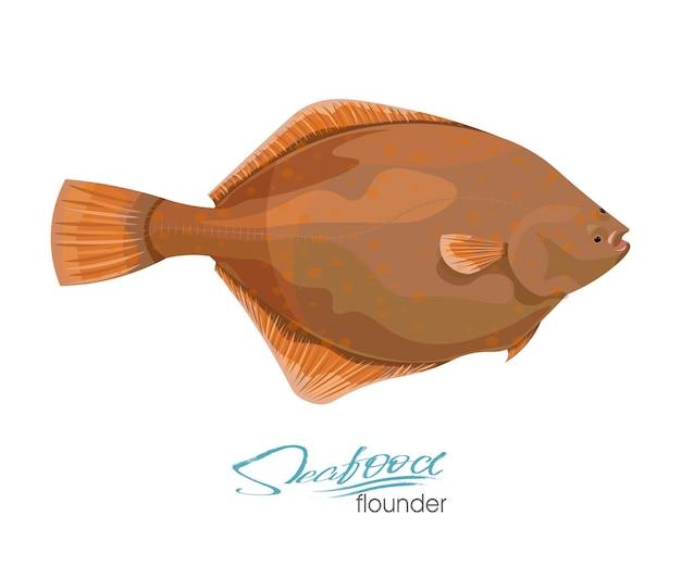 Ilustración de vector de platija de oliva pescado de mar aislado sobre fondo blanco