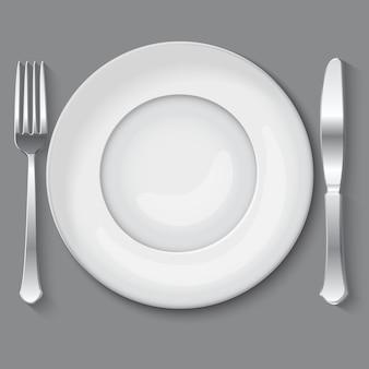 Ilustración de vector de plato blanco vacío.
