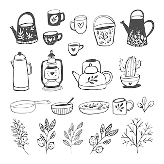 Ilustración de vector de platos y plantas en estilo de dibujos animados.