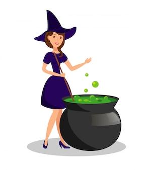Ilustración de vector de poción de brujería hirviendo bruja