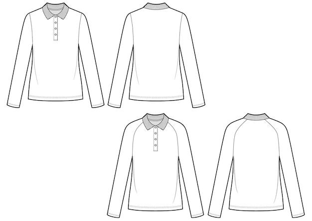 Ilustración de vector de polo femenino. dibujo vectorial frontal y posterior