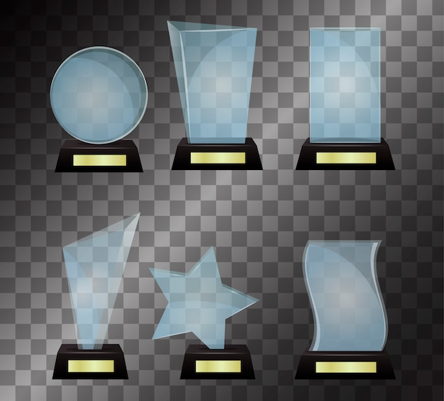 Ilustración de vector de premio trofeo de cristal aislado sobre fondo transparente.